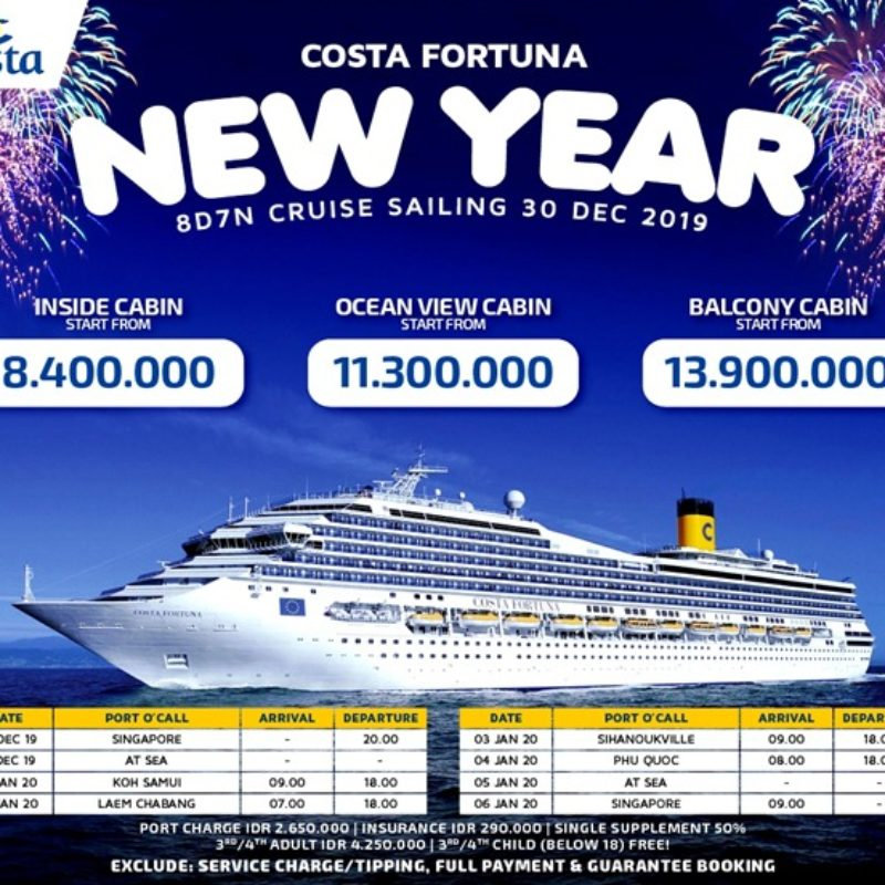 COSTA FORTUNA CRUISE NEW YEAR DEP 30 DEC 2019